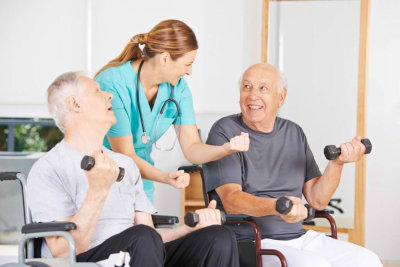 caregiver with patient having exercise
