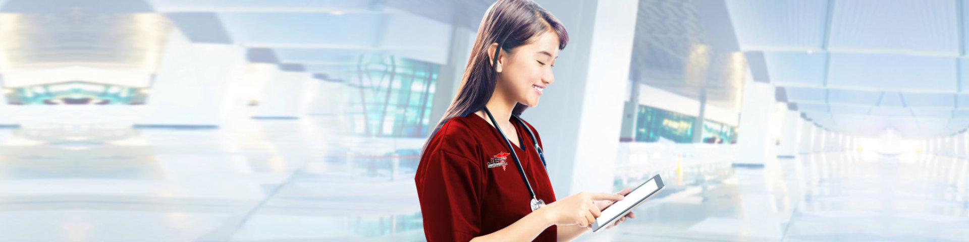 a nurse holding tab